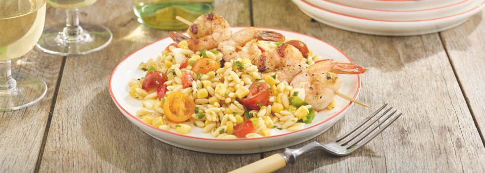 Shrimp with Orzo and Corn Salsa
